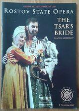 The Tsar's Bride programme Cadogan Hall 2nd November 2007 Rostov State Opera