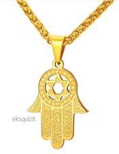 HAMSA HAND OF FATIMA PENDANT NECKLACE 24k GOLD PLATED