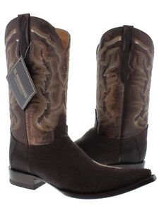 Mens Western Cowboy Boots Brown Real Stingray Skin Leather 3x toe Size 65 14