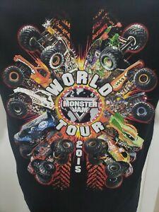 Monster Jam 2015 World Tour Grave Digger Max D Black T-Shirt Men's Small
