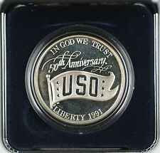 1991 USO 50th Anniversary Commemorative Silver Proof Dollar $1 Coin as Issued