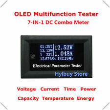 7in1 DC Combo Meter Voltage Current Time Power Watt Capacity Panel Tester 5v 12v