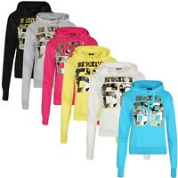Ladies Women Printed Hoodies Brooklyn 68 Graphic Print Hooded Top New Hoodie