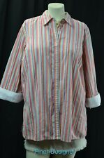 LRL Ralph Lauren button down Top blouse shirt 3/4 fold up sleeves shabby 1X NEW