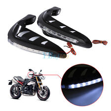2Pcs Motorcycle Handlebar Black Hand Guard Protector LED Daytime Running Light