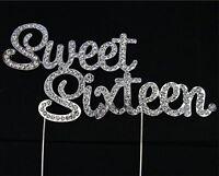 Cake Topper  Rhinestone Birthday Pick Diamante Decoration 16 - Sweet Sixteen UK
