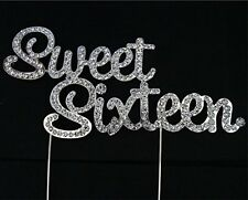 Rhinestone Birthday Cake Topper  Pick Diamante Decoration 16 - Sweet Sixteen