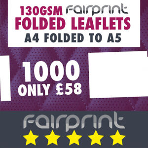 1000 Folded Leaflet and Menus / A4 to A5 / 130gsm Gloss