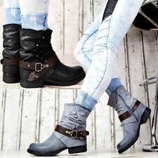 Damen Stiefeletten Biker Boots Nieten Schnallen Profilsohle Schuhe 818478 Top