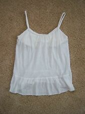 J. Crew junior's xs cotton and linen white top, sheer, built in support, strapes