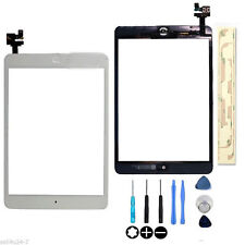 White Touch Glass Digitizer Screen + Home Button  IC Connector For iPad Mini 1 2