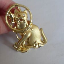 Vintage Signed DANECRAFT Kitty Cat Brooch Pin, Head in a Fishbowl Gold Cat