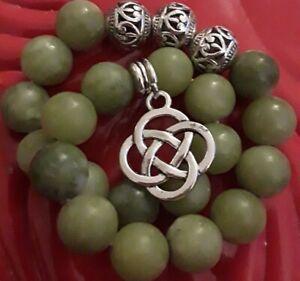 GREEN CONNEMARA MARBLE BEAD ROSARY BRACELET +STERLING SILVER FILLED IRISH CHARM