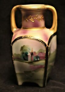 NIPPON HAND PAINTED SCENIC PURPLE VASE