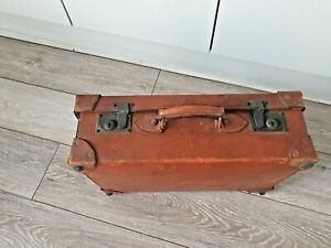 Lovely Medium Heavy Quality Vintage Suitcase Tan Leather with fitted interior