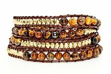 Tiger Stone and Gold Beads on Brown Leather - Wrap Bracelet