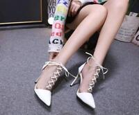 HOT Women Stiletto Pointed Toe Clear Lace Up Ankle Boots High Heel Shoes