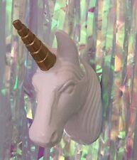 BIANCO & Gold Unicorn Testa Gancio Gancio a Parete da Appendere Decorazione Busto dice & Belle