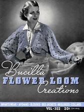 Bear Brand #302 c.1937 Excellent Pattern Book of Flower Loom Crochet Fashions