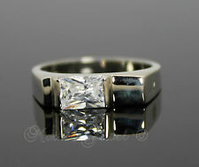 Sterling Silver Plate Simulated Diamond Wedding Mens Womens Band Ring Size 8 P