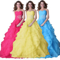 Princess Prom Wedding Organza Dress Formal Evening Cocktail Party Ball Gown 6-20