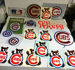 Huge Lot Of Chicago Cubs Vintage Decals And Patches Mlb (mears)