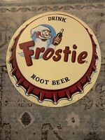 Drink Frostie Root Beer Edge Embossed Tin Tacker Sign A 20 Inch