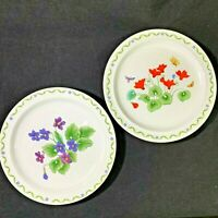 2 Windemere Garden Salad Plates Made in Japan Violets and Orange Flowers