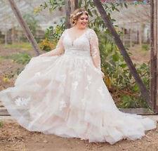 Tulle Lace Plus Size Long Sleeve Wedding Dresses