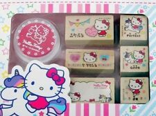 Hello kitty Unicorn Wooden Rubber Stamp Set Sanrio Pink Ink Pad & Stamp 6P Gifts