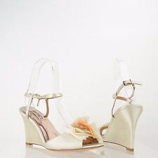 Badgley Mischka Glee Women's Shoes White Satin Wedge Heels Sandals Sz 6.5 M NEW!