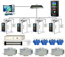 Color LCD 4 Puertas Bio Sistema de Huellas Digitales Control 280kg Magnetic Lock
