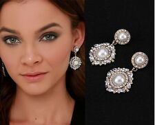 WHE883 White Chapel Bridal Royal Pearl Sparkling Crystal Dangling Prom Earrings