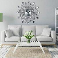 Metal Crystal Wall Clock 33cm Large Vintage Sunburst Design Decorative Clocks