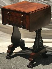 EARLY 19TH C. CLASSICAL MAHOGANY WORK TABLE BY ISAAC VOSE & THOMAS WIGHTMAN