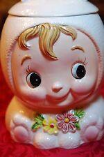 """Vintage Lefton Cutie Pie #1370 Cookie Jar 1947-1953 Bunny Ears 10"""" Cream Color"""