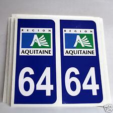 10 STICKERS AUTOCOLLANT PLAQUE D IMMATRICULATION des Pyrénées Atlantiques (64)
