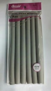 """ANNIE 11/16"""" 6 CT. SOFT TWIST ROLLERS GRAY 10"""" LONG #1209"""