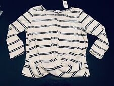 The Vanity Room, Women's Small Sweater/Top, 3/4 Sleeves, Striped, Ivory/Blk, NEW