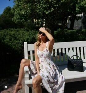 Brock Collection x H&M Cream Floral Lyocell Linen Dress sz M Bloggers Favorite