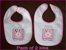 2 x FIRST EASTER GIRLS BABY BIB - Waterproof back - Cute 1st Pink Bunny - NEW