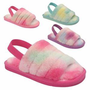 Ladies Furry Slippers Fur Sliders Slip On Sandals Mules Women Slingback Shoes