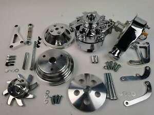 Small Block Chevy Power Steering Pump Long Water Pump Pulley Kit 1or3 Alternator