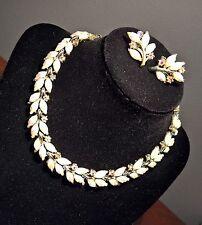 Vintage 1950 CORO Milk Glass Pink AB Rhinestones Demi Necklace Choker & Earrings