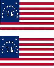 2 x Autocollant sticker voiture vinyl pc drapeau USA americain bennington 76