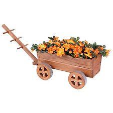 Jardin en bois Panier Patio Wagon Chariot Grow Fleur jardiniere Outdoor Decor rustique