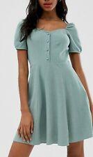 New Look Prarie Dress Sweetheart Neck Button Front Powder Mint Green Uk 12 Box 1