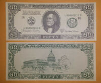 1960-1990 Hollywood Movie Prop Money - 50 FIFTY Note / Bill