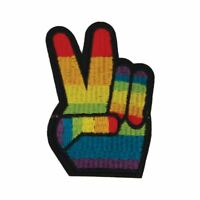 Rainbow Peace Hand (Iron On) Embroidery Applique Patch Sew Iron Badge