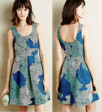 ANTHROPOLOGIE Tracy Reese NWT Blooming Chrysanths Dress Blue Motif Sz 6P $128